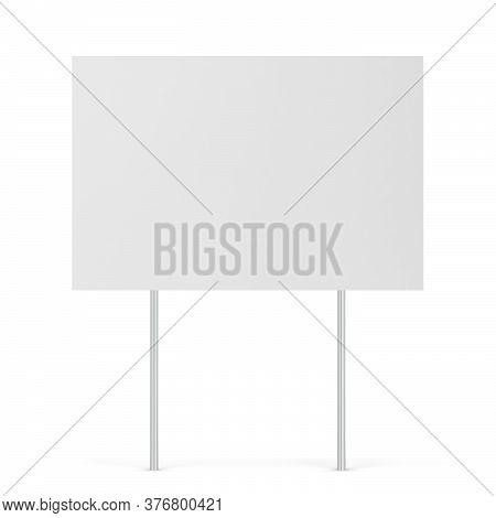 Blank Yard Sign. 3d Illustration Isolated On White Background