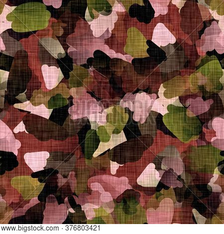 Seamless Distressed Brown Painted Camouflage Texture Background. Irregular Mottled Sepia Pattern. Or