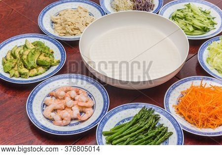 Rice Paper And Ingredients For Making Vietnamese Style Spring Rolls