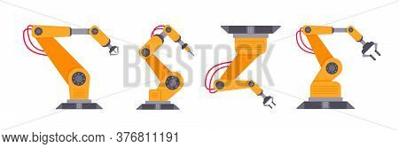 Robotic Arm Set Flat Style Design Vector Illustration Isolated On White Background. Robot Arms Or Ha