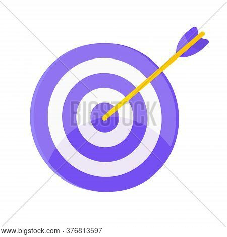 Target Icon With Arrow In The Bullseye With Shadows On It. Goal Achieving Symbol Icon Sign Vector Ba