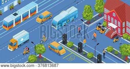 Electric Transport Isometric Background With Car Truck And Tram Symbols Vector Illustration