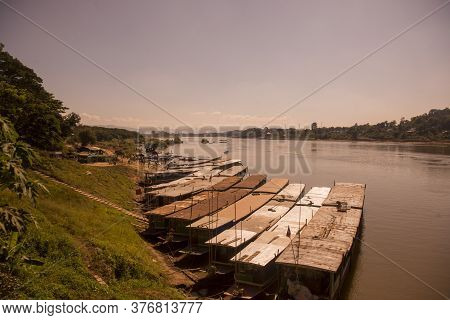 The Boat Pier At The Village Of Huay Xay In Lao At The Mekong River From The View In The Northwest L