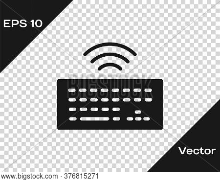 Black Wireless Computer Keyboard Icon Isolated On Transparent Background. Pc Component Sign. Interne