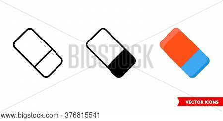 Eraser Icon Of 3 Types. Isolated Vector Sign Symbol.