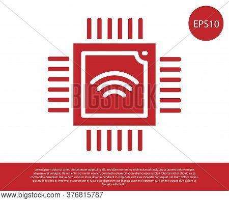 Red Computer Processor With Microcircuits Cpu Icon Isolated On White Background. Chip Or Cpu With Ci