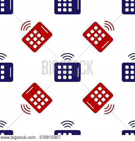 Blue And Red Wireless Tablet Icon Isolated Seamless Pattern On White Background. Internet Of Things