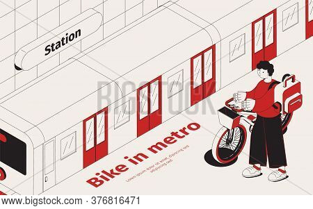 Metro Station Isometric Background With Young Passenger With His Bike Waiting For Train Vector Illus