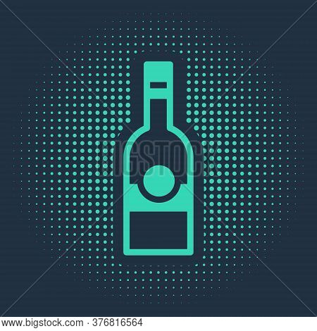 Green Glass Bottle Of Vodka Icon Isolated On Blue Background. Abstract Circle Random Dots. Vector
