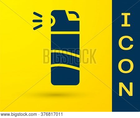 Blue Pepper Spray Icon Isolated On Yellow Background. Oc Gas. Capsicum Self Defense Aerosol. Vector