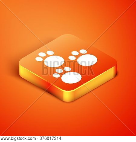 Isometric Paw Print Icon Isolated On Orange Background. Dog Or Cat Paw Print. Animal Track. Vector