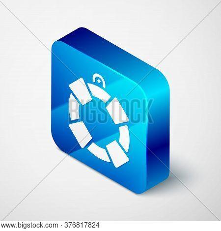 Isometric Lifebuoy Icon Isolated On Grey Background. Lifebelt Symbol. Blue Square Button. Vector