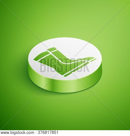Isometric Fishing Boots Icon Isolated On Green Background. Waterproof Rubber Boot. Gumboots For Rain