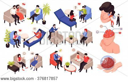 Psychologist Psychiatrist Isometric Set With Relationship Stress Behavior Mental Problems Treatment