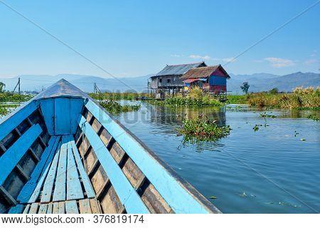 Inle, Myanmar - January 27, Wooden Floating Houses On Inle Lake In Shan, Myanmar
