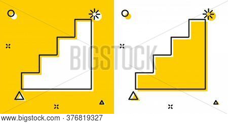 Black Staircase Icon Isolated On Yellow And White Background. Random Dynamic Shapes. Vector