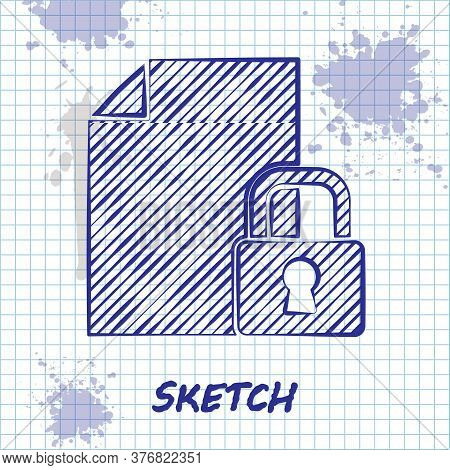 Sketch Line Document And Lock Icon Isolated On White Background. File Format And Padlock. Security,