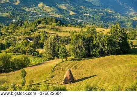 Beautiful Rural Landscape In Summer Light. Transilvania, Romania