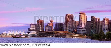Downtown Vancouver on July 1, 2019 in Vancouver, Canada. Third-largest metropolitan area in Canada.