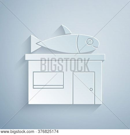 Paper Cut Seafood Store Icon Isolated On Grey Background. Facade Of Seafood Market. Paper Art Style.