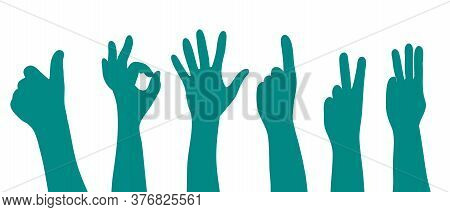 Hands Signs, Gestures And Finger Movements Set Silhouette Vector Illustration In Blue Color On A Whi