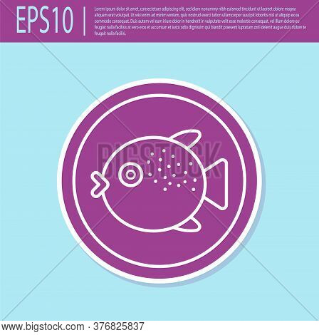 Retro Purple Puffer Fish On A Plate Icon Isolated On Turquoise Background. Fugu Fish Japanese Puffer