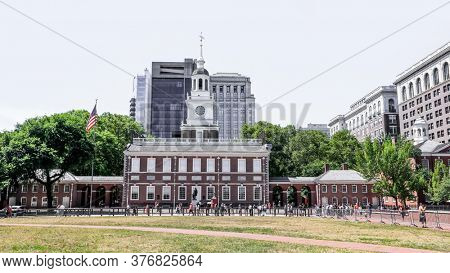 Philadelphia,USA - July 7, 2018 -Downtown Philadelphia, Independence hall, where the Declaration of Independence and Constitution were signed