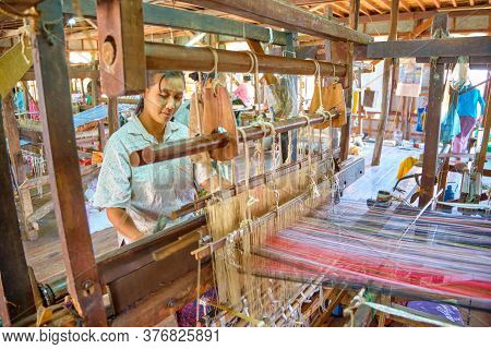 Inle, Myanmar - January 27, 2017: Loom In Myat Pwint Chel Weaving