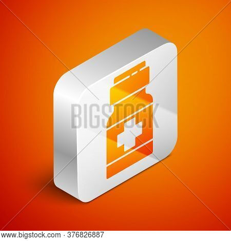 Isometric Medicine Bottle And Pills Icon Isolated On Orange Background. Medical Drug Package For Tab