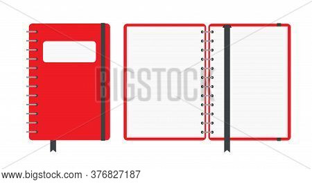 Red Color Notebook, Closed And Open, Isolated On White Background. School Vector Background With Ope