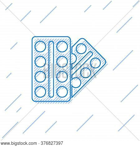 Blue Line Pills In Blister Pack Icon Isolated On White Background. Medical Drug Package For Tablet,