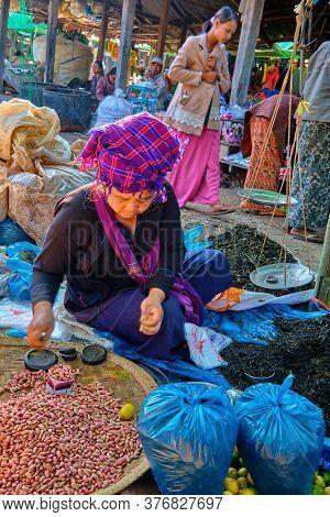Trading Activities On Inle, Myanmar - January 27, 2017. At Mine Thauk, Nyaungshwe Market, Myanmar