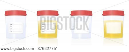 Specimen Cups With Blank Labels And Red Screw Caps - Empty And Filled With Urine. Isolated Vector Il