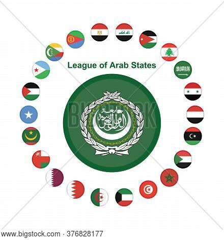 National Arab League Flag, Official Colors And Proportion Correctly. The League Of Arab States Flag.