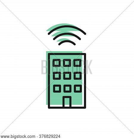 Black Line Smart Home With Wireless Icon Isolated On White Background. Remote Control. Internet Of T