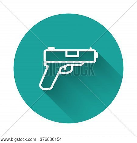 White Line Pistol Or Gun Icon Isolated With Long Shadow. Police Or Military Handgun. Small Firearm.