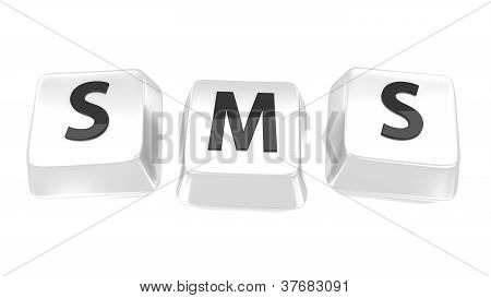 Sms Written In Black On White Computer Keys. 3D Illustration. Isolated Background.