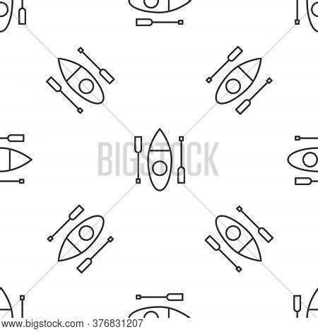 Grey Line Kayak And Paddle Icon Isolated Seamless Pattern On White Background. Kayak And Canoe For F