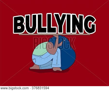 National Bullying Prevention Month. Black Woman Is Trying To Withstand Onslaught Of Bullying