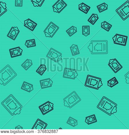 Black Line House Contract Icon Isolated Seamless Pattern On Green Background. Contract Creation Serv