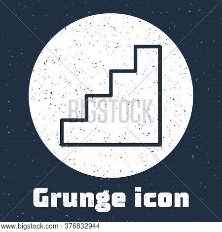 Grunge Line Staircase Icon Isolated On Grey Background. Monochrome Vintage Drawing. Vector