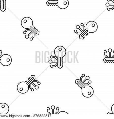 Grey Line Cryptocurrency Key Icon Isolated Seamless Pattern On White Background. Concept Of Cyber Se