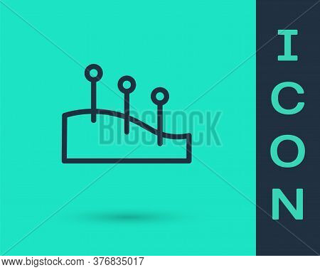 Black Line Acupuncture Therapy Icon Isolated On Green Background. Chinese Medicine. Holistic Pain Ma