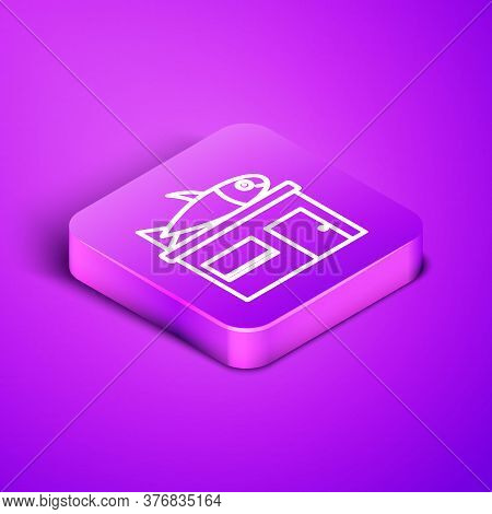 Isometric Line Seafood Store Icon Isolated On Purple Background. Facade Of Seafood Market. Purple Sq