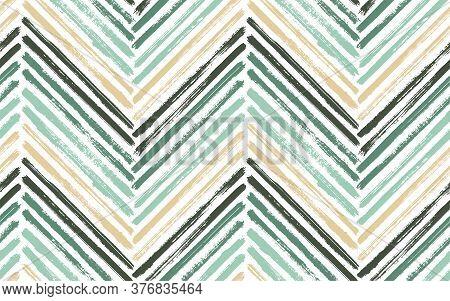 Decorative Chevron Interior Print Vector Seamless Pattern. Paintbrush Strokes Geometric Stripes. Han