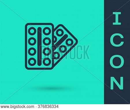 Black Line Pills In Blister Pack Icon Isolated On Green Background. Medical Drug Package For Tablet,