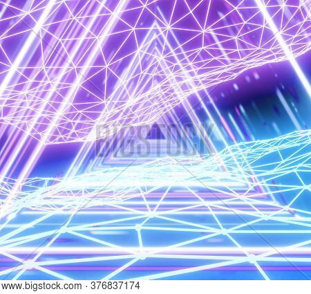 Futuristic Corridor With Triangles And Wireframe, Fluorescent Ultraviolet Light, Blue Pink Spectrum,