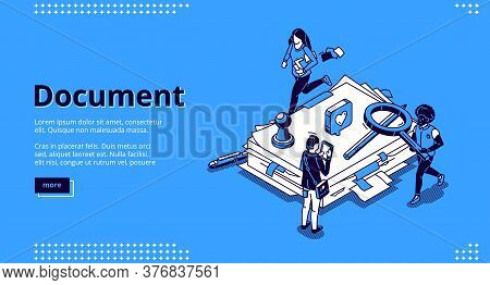 Work With Documents, Bureaucracy Isometric Landing Page, Tiny Business People Around Of Huge Office
