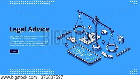 Legal Advice Banner. Online Assistance Of Lawyer For Regulation Legal Issues For Compliance To Rules