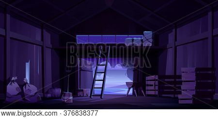 Barn On Farm With Harvest, Straw And Hay At Night. Vector Cartoon Interior Of Old Wooden Shed With H